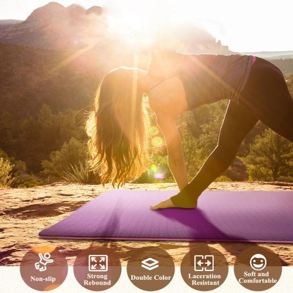 Non-Slip TPE Yoga Mat, Workout Mat, Rubber Gym Mat