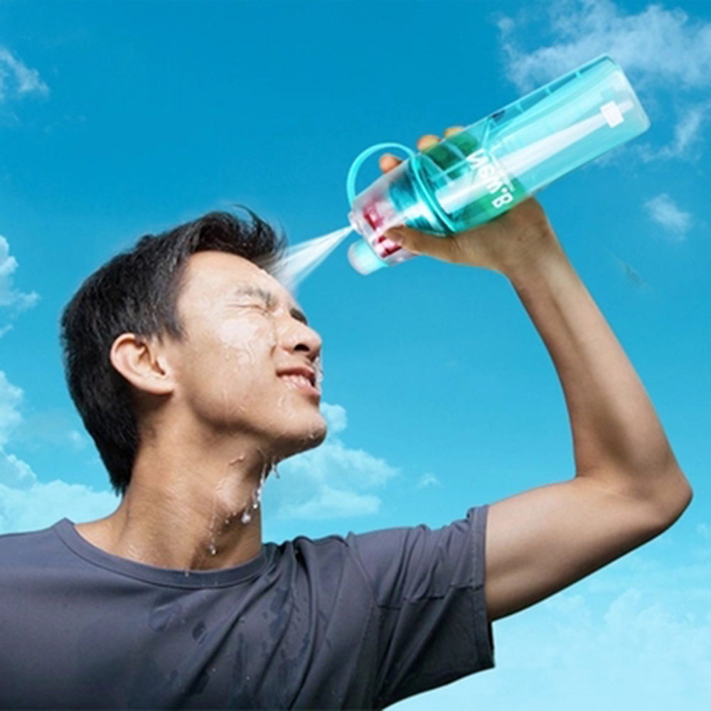 New Creative Spray Water Bottle Portable Atomizing Bottles Outdoor Sports Gym Drinking Drinkware Bottles Shaker 400ML