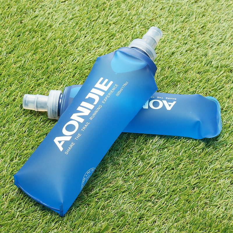 Outdoors Foldable Blue Water Bottle Traveling Sport Running Cycling Kettle Healthy Soft Material Hiking Camping Jug