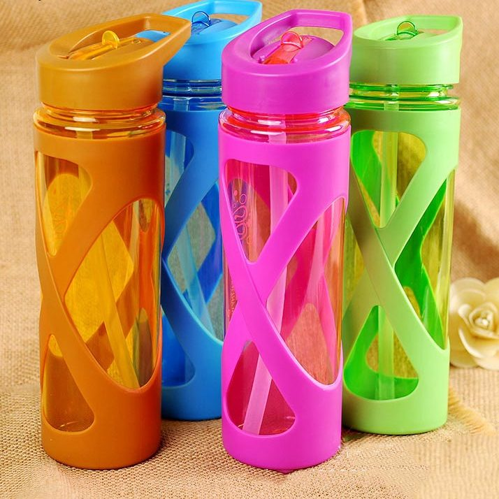 Urijk 580ml New Seal Straw Sport Water Bottle Anti Hot Leak Proof Plastic Sleeve Drink Bottle e1517189762128