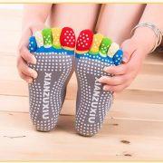 Women professional Yoga socks Non slip Women five finger Toe Socks Athletic Sport Pilates Massage Socks 5