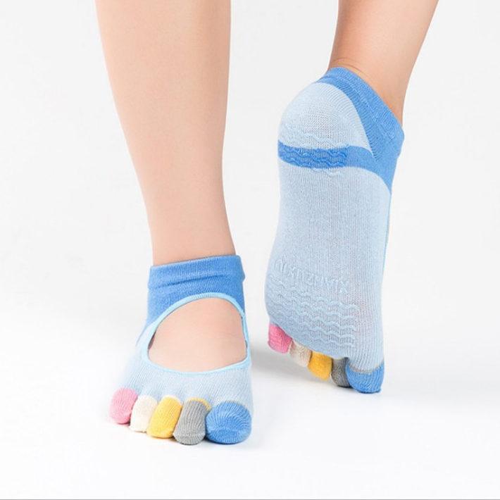Yhao Brand Women Pilates Five Toe 100 cotton Non Slip Yoga socks female socks Mix color e1516219549350