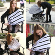 Baby Car Seat Cover Canopy Nursing Cover Multi Use Stretchy Infinity Scarf Breastfeeding Shopping Cart Cover 1