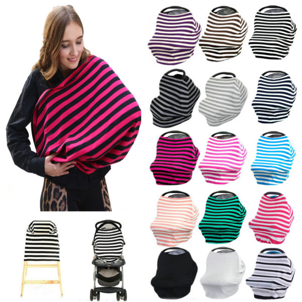 Baby Car Seat Cover Canopy Nursing Cover Multi Use Stretchy Infinity Scarf Breastfeeding Shopping Cart Cover