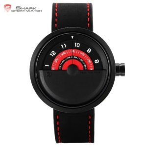 Bonnethead Shark Sport Watch New Turntable Dial Red Analog Quartz Soft Crazy Horse Leather Unique Design