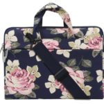 MOSISO Floral Rose Women Notebook Brief Case Bag