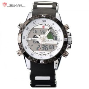 New SHARK Sport Watch Dual Time Date Silicone Strap Back Light Quartz Wrist Men Military Outdoor