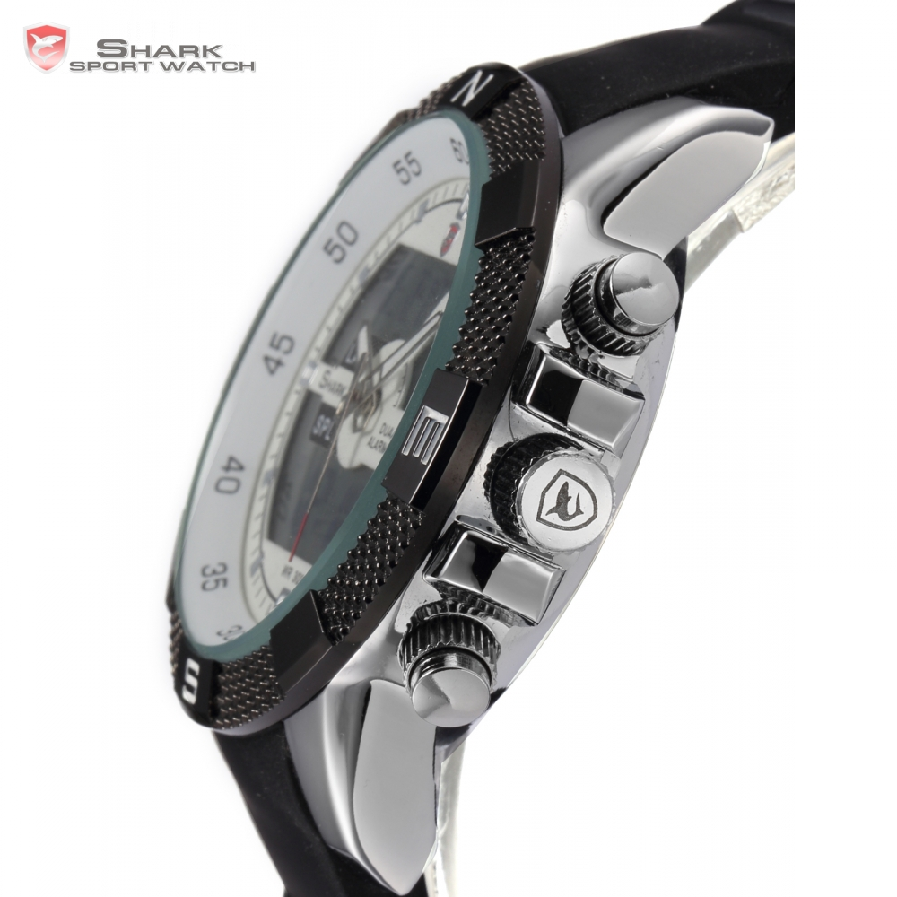 new shark sports watch dual time and date wrist watch for men