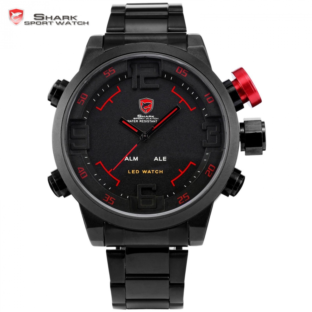 SHARK Sport Watch Brand Digital Dual Time Day LED Black Red Men Wristwatches Full Steel Strap