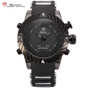 SHARK Sport Watch Brand LED Display Multiple Timezone Alarm Black Silicone Strap Relogio Men Military Orologio