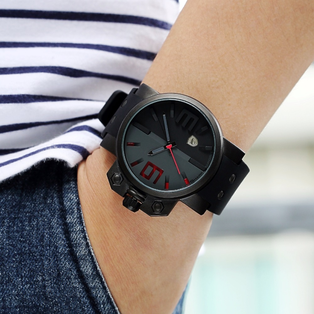Salmon SHARK Sport Watch Luxury Brand 3D Red Dial Analog Silicone Band Mens Army Military Quartz 3