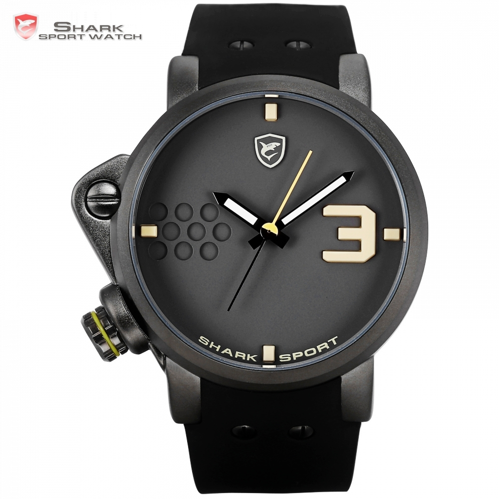 Salmon SHARK Sport Watch Yellow Men Man Top Brand Luxury Quartz Watches Silicone Watches Waterproof Relogio