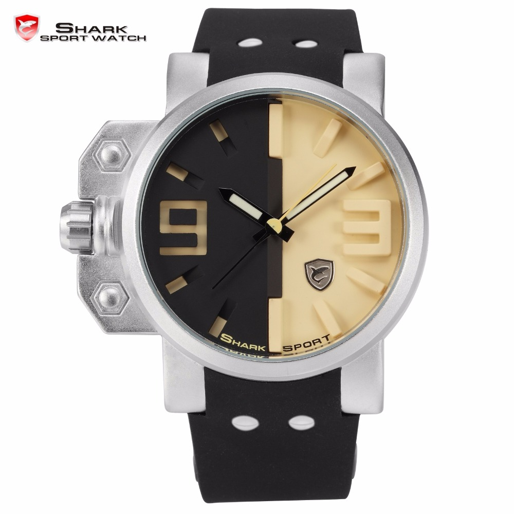 Salmon Shark Sport Watch Stainless Steel Case Black Yellow 3D Analog Luminous Hands Rubber Outdoor Mens