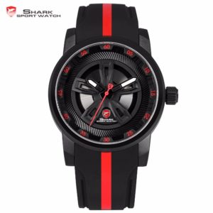Thresher SHARK Sport Watch Brand Red Racing Car Wheel Design Quartz Movement Silicone Watches Waterproof Mens