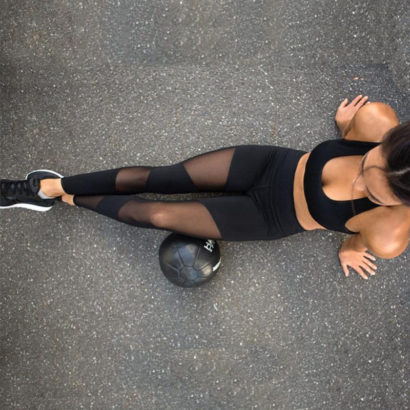 399f6ac44ccb54 Lucylizz 2017 Sexy Mesh Patchwork Sport Leggings Vrouwen Fitness Kleding  Zwart Gym Sportkleding Running Hoge Taille